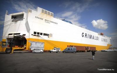 Ons vrachtschip van Israël naar Italië. Afrika naar Europa...